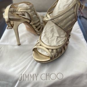 Jimmy choo champagne heels, size 39 with box